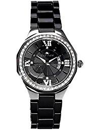 Stella Maris Damen-Armbanduhr Schwarz Analog Quarz Premium Keramik Diamanten - STM15Y4