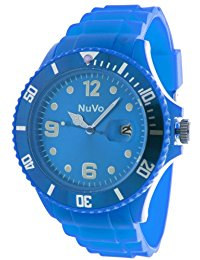 Nuvo - NU13H08 - Unisex Armbanduhr - Quartz - Analog - Blaues Zifferblatt - Blaues Armband aus Silikon - Modisch - Elegant - Sty
