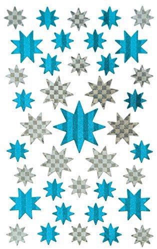 Avery Zweckform 52775 Weihnachtssticker Sterne (Effektfolie) 39 Aufkleber