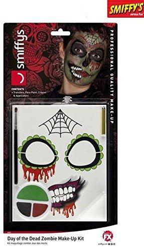 Smiffys, Damen Tag der Toten Zombie Make-Up Set, Gesichtsfarbe und Applikatoren, Bunt, 44915