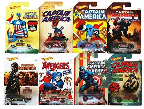 Mattel Hot Wheels DJK75 - Captain America 3 Die-Cast Sortiment