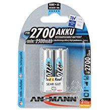 ANSMANN wiederaufladbar Akku Batterie Mignon AA Typ 2700mAh NiMH hochkapazitiv Hohe Kapazitat ohne Memory-Effekt Profi Digital K