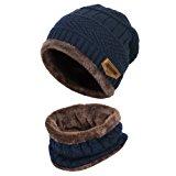 Vbiger Wintermütze Warm Beanie Strickmütze und Schal mit Fleecefutter (Blau-Neu): Amazon.de: Bekleidung