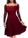 Shoppen Sie Miusol Damen Vintage 1950er Off Schulter Cocktailkleid Retro Spitzen Schwingen Pinup Rockabilly Kleid Rot-Navy Blau