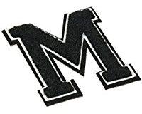 Urban Classics Aufnahbuchstaben UC Letter M, Schwarz, One size, UC008-00347-0050