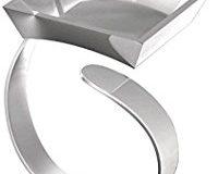 Fimo Ring mit quadratischer Mulleimer, silber