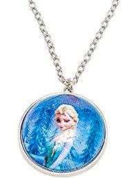 Disney 755702 - Frozen Halskette mit halber Schneekugel Durchmesser 3.5 cm als Anhanger und Elsa Motiv in Geschenkpackung 8 x 2.