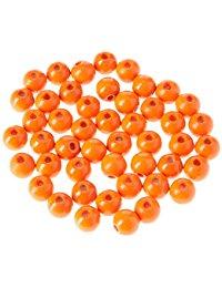 EFCO 45-tlg. 8 mm Holz Perlen mit 23 mm Durchmesser Neon Loch, orange