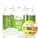 Vitamin B12 1.000 &micro,g, B6 + Fols&auml,ure | 180 Tabletten | Sinnvolle B-Vitamin Kombination | Hochdosiert | Methylcobalamin