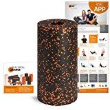 Blackroll Orange Faszien-Rolle, EPP Schaumstoffrolle inkl. Booklet und App, Massage-Rolle f&uuml,r Faszientraining, Verspannunge