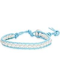 Valero Pearls Damen-Armband Leder Perle S&uuml,&szlig,wasser-Zuchtperle Creme - 609230