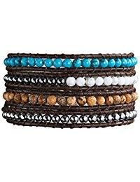 Rafaela Donata Damen-Armband Leather Collection Leder schwarz T&uuml,rkis Jaspis braun H&auml,matit grau Glaskristall silberfarb