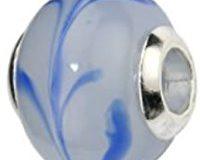 Pasionista Unisex-Glasbeads wei&szlig, mit blauem Muster 925 Sterling Silber 607313