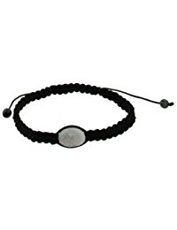 Schwarzes Kordel Wei&szlig,es Drusy-Shamballa H&auml,matit verstellbares Armband 19cm
