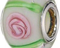 Pasionista Unisex-Glasbeads wei&szlig, mit rosa und gr&uuml,n 925 Sterling Silber 607368