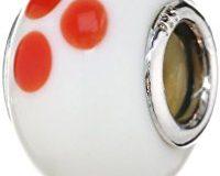 Pasionista Unisex-Glasbeads wei&szlig, mit orangenen Punkten 925 Sterling Silber 607344