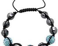 Carlo Monti Damen-Armband Shamballa aqua L&auml,nge variierbar, verschiedene Steine auf schwarzem Textilband JCM1147-592