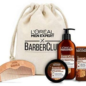 L'Oreal Men Expert Premium Barber Coffret im Stoffbeutel, 3-in-1 Bartshampoo (200 ml), Bart&ouml,l (30 ml), Bart Styling Pomade