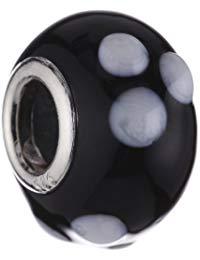 Pasionista Unisex-Glasbeads schwarz wei&szlig, 925 Sterling Silber 607238