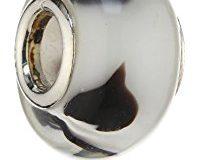 Pasionista Unisex-Glasbeads wei&szlig, mit braunen Punkten 925 Sterling Silber 607429