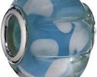 Pasionista Unisex-Glasbeads blau mit Streifen 925 Sterling Silber 607276