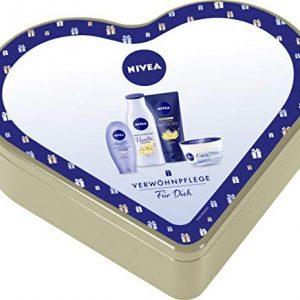 NIVEA Herz Geschenkset f&uuml,r Frauen, Pflegeset mit Creme &Ouml,lperlen Pflegedusche, Sensual Pflegelotion, NIVEA Care Creme &