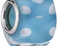 Pasionista Unisex-Glasbeads hellblau mit wei&szlig, 925 Sterling Silber 607375