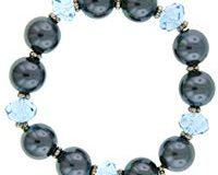 1928 Jewelry Silber Tone Blau Bead und Graue Perlenimitate Stretch 17 cm