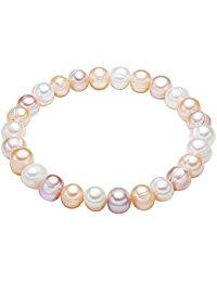 Valero Pearls Damen-Armband elastisch Hochwertige S&uuml,&szlig,wasser-Zuchtperlen in ca. 8 mm Barock wei&szlig,-apricot-flieder
