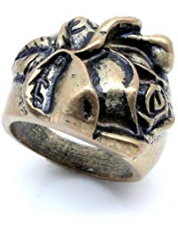 White Leaf Antiker Spiegelring, wei&szlig,e Bl&auml,tter, Bronze Rose Ring
