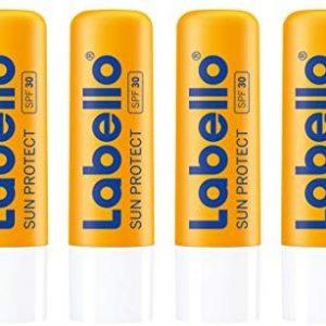 Labello Sun Protect im 4er Pack (4 x 4,8 g), wasserfester Lippenpflegestift mit Sonnenschutz (LSF 30), Lippenpflege ohne Mineral