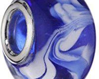 Pasionista Unisex-Glasbeads blau mit blau- wei&szlig,em Muster 925 Sterling Silber 607269