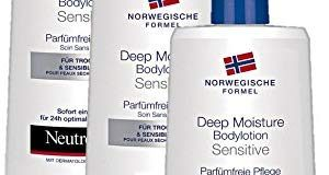 Neutrogena Norwegische Formel Deep Moisture Bodylotion Sensitive a?? Parf&uuml,mfreie Pflege (3 x 400 ml)