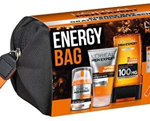 L'Or&eacute,al Men Expert Energy Bag, 24H Feuchtigkeitspflege (50ml), Waschgel (150ml) und Hydra Energy Duschgel (300ml)