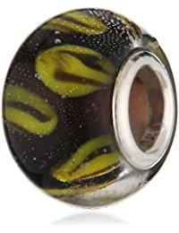 Pasionista Unisex-Glasbeads schwarz mit gelb 925 Sterling Silber 607412
