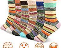 Emooqi Warme Socken, 6 Paare Mode Wolle Socken Komfort Atmungsaktive Warm Winter Damen Socken Bunte Gemusterte Stricksocken Wint